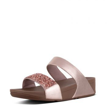"""<p class=""""caption"""">Bezaubernd in Pastell: FitFlop Sparklie Roxy™ Slide Rose Gold.</p>"""