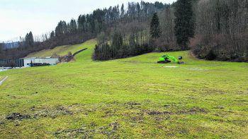 Auf diesem Grundstück soll die Wälderhalle entstehen.Fotos: handout/Mario Kleber, Faksimile
