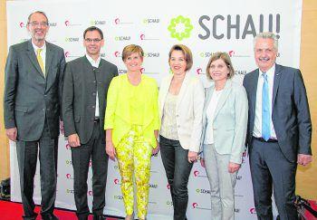 BM Heinz Faßmann, LH Markus Wallner, Sabine Tichy-Treimel, Bgm. Andrea Kaufmann, LR Barbara Schöbi-Fink und Messe-Präsident Otto G. Mäser.