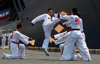 <p>Corinto Port. Energetisch: Navy Soldaten aus Taiwan trainieren mit Soldaten aus Nicaragua.</p>