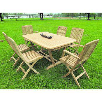 """<p class=""""caption"""">Das Komo-Set mit ausziehbarem Tisch und sechs Stühlen ist um 2100 Euro bei Ländle Teak erhältlich.</p>"""