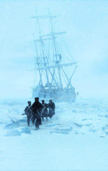 Die britische Expedition im Kampf mit der Natur am Polarkreis.