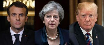 "<p class=""caption"">Emmanuel Macron, Theresa May und Donald Trump sind sich einig.</p>"