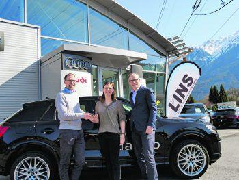 GF Rudi Lins (Autohaus Lins), Lorraine Huber (Gewinnerin Gesamtwertung Freeride World Tour 2017, Dritte 2018) und Gerhard Vonach (Vonach Marketing Services).