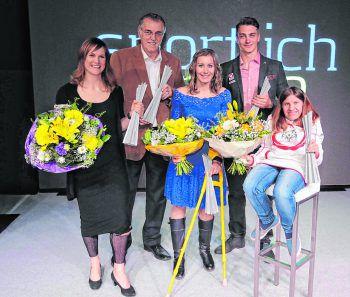 """<p class=""""caption"""">Lorraine Huber, Heimo Lubetez, Heike Eder, Alessandro Hämmerle und Bettina Burtscher.Fotos: Arno Meusburger</p>"""
