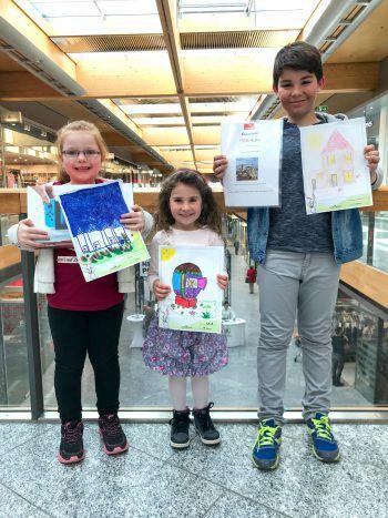 Marie, Mia und Oskar haben den Malwettbewerb gewonnen.Foto: handout/Zimbapark