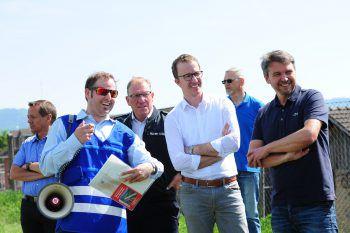 """<p class=""""caption"""">Rheinbauleiter Mathias Speckle, LR Christian Gantner und Lustenaus Bürgermeister Kurt Fischer nahmen teil.</p>"""