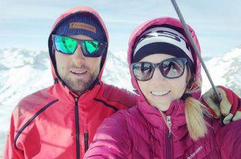 <p>Skitour: Susanne Moll mit Bruder Bernhard am Geißhorn.</p>