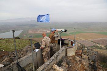 UN Soldaten in der Nähe der israelisch- syrischen Grenze im Golan.Foto: AP