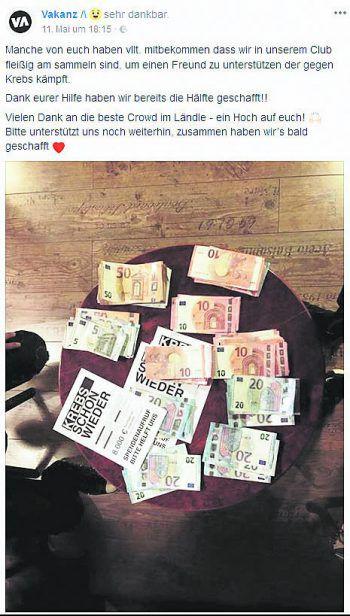 """<p class=""""caption"""">Die Hälfte der 8000 Euro hat das Team schon gesammelt. Fotos: handout/privat, Screenshot Facebook</p>"""