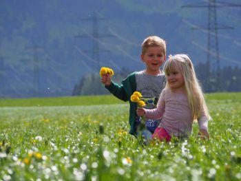 <p>Louie (4) und Pia (4) beim Blumen pflücken.</p>