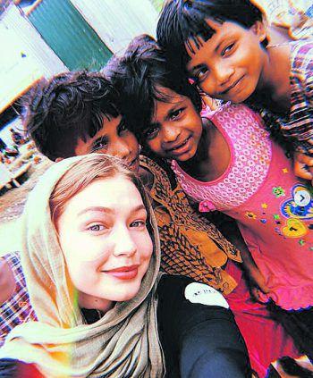 <p>Gute Sache: Model Gigi Hadid bei ihrem Einsatz mit UNICEF in Bangladesch.</p>