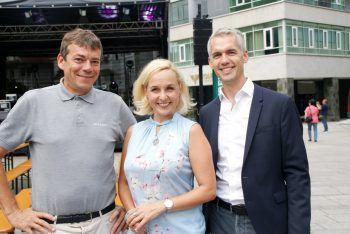 """<p class=""""caption"""">Klaus Lingg (Stadt Dornbirn), Heike Montiperle (Moderatorin) und Herbert Kaufmann (Stadtmarketing).</p>"""