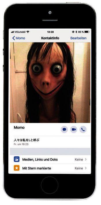 """""""Momo"""" verbreitet bei Kindern und Jugendlichen derzeit Angst und Schrecken.Foto: Screenshot"""