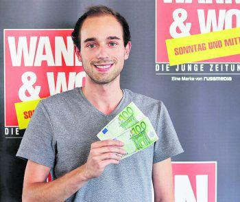Steven (noch) aus Wolfurt, kann die 200 Euro für den bevorstehenden Umzug super gebrauchen. W&W und die ImmoAgentur gratulieren Gewinner Nummer neun! Foto: W&W
