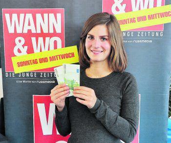 Julia aus Dornbirn konnte sich 200 Euro WANN & WOhngeld sichern und hat diese auch schon abgeholt. WANN & WO und die ImmoAgentur wünschen viel Spaß damit! Foto: W&W