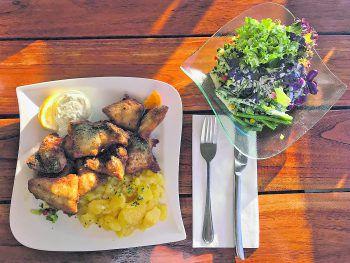 """""""Knusperle"""" von Lachsforelle und Felchen mit gemischtem und Kartoffelsalat. Fotos: W&W"""
