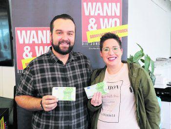 Tobias und Jeanette aus Lustenau dürfen sich über ihre 200 Euro WANN & WOhngeld freuen – WANN & WO und die ImmoAgentur gratulieren den Gewinnern!  Foto: W&W