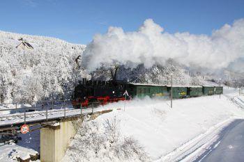 Die Fahrt mit der Fichtelbergbahn verspricht Winterstimmung vom Feinsten.Fotos: handout/Weiss Reisen, Shutterstock, Sdg-Fichtelbergbahn, Bc. Jiri Vanicek
