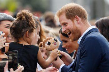 <p>Manukau. Süß: Prinz Harry spielt mit dem Stofftier eines kleinen Mädchens im Viaduct Harbour in Neuseeland.</p>