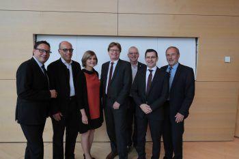 Stefan Fischnaller, StR. Michael Rauth, LR Barbara Schöbi-Fink, GenSekr. Gerhard Bisovsky, Wolfgang Türtscher, GF Michael Grabher und Klemens Voith.
