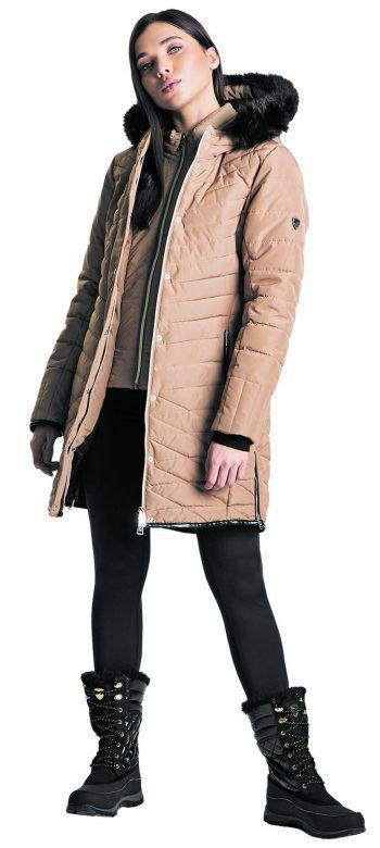 """<p class=""""caption"""">Der sportliche und sehr warme Damenmantel von """"Dare2b"""" mit Kunstpelzbesatz ist wasserfest und verfügt über Stretch-Ärmelbündchen und ist angenehm zu tragen. Preis: 139,99 Euro</p>"""