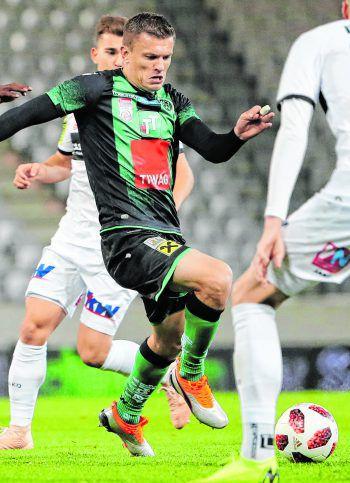 Der Treffer von Zlatko Dedic in der 39. Minute blieb der einzige des Spiels und besiegelte die Altacher Niederlage.  Foto: GEPA