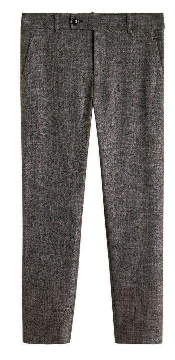 """<p class=""""caption"""">Die grau melierte Anzugshose ist der perfekte Begleiter für den Alltag. Bei Mango um 35,99 Euro erhältlich.</p>"""