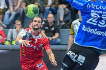 """<p class=""""caption"""">Linksaußen Luca war mit sieben Toren erfolgreichster Harder Werfer im EHF-Cup gegen OCI-Lions. Foto: GEPA</p>"""