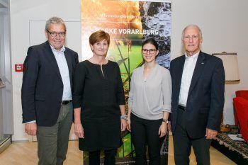 LSth. Karlheinz Rüdisser, Sabine Tichy-Treimel, Judith Meyer und Bertram Batlogg bei der Zukunftswerkstatt in Feldkirch. Foto: handout/Marke Vorarlberg