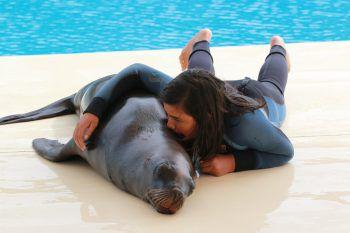 """<p class=""""caption"""">Michaela (15, auf dem Foto 12) mit ihrem Freund, dem Seelöwen im Conny-Land.</p>"""