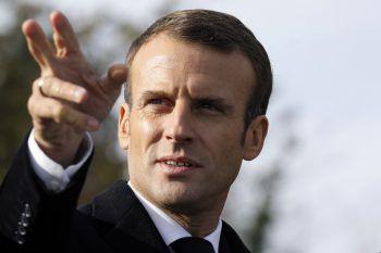 Terrorziel Emmanuel Macron. Fotos: AP