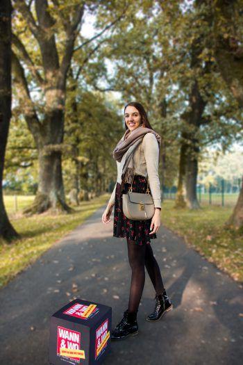 Unsere Mode-Redakteurin Madlen trägt diesen Herbst am liebsten Strick und florale Muster.Fotos: handout/Drexel