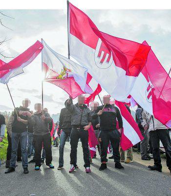 Vorarlberger Beteiligung bei einer Demonstration der Identitären am Grenzübergang Spielfeld in der Steiermark. Fotos: LPD Vorarlberg, Sams, Russmedia, APA