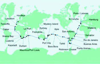 """<p class=""""caption"""">Das war die Route (v.r.n.l.) von Connys Weltreise per Schiff.</p>"""