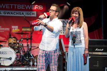 """<p class=""""caption"""">David Breznik und Ulli von Delft moderieren am 28. Juni in Rankweil das große Finale des ORF-Wettbewerbs.</p>"""
