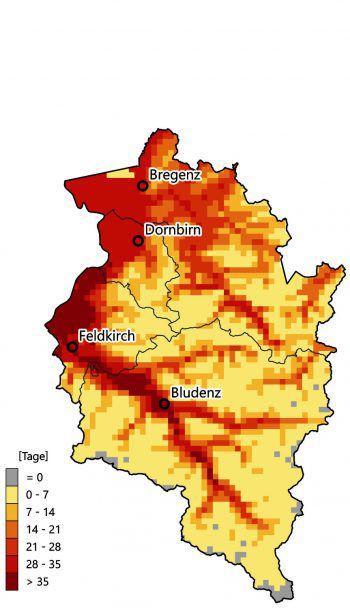 Die beiden Karten (links, klein: aktuelles Klima; rechts, groß: Prognose 2071 bis 2100) zeigen die Anzahl der Tage, an denen die Tagesmaximum-Temperatur größer gleich 30 Grad Celsius beträgt. Während das Mittel der Hitzetage derzeit bei 1,1 Tagen liegt (Maximum 6,4 Tage), ist in Zukunft durchschnittlich mit 13,1 Tagen zu rechnen – und einem Maximum von 41,1 Tagen!               Karten: Clima Map – Climate Change Impact Maps for Austrian Regions; Quellen: Land Vorarlberg, BOKU Wien, ZAMG, Uni Graz, Landesamt für Vermessung und Geoinformation, IGKB