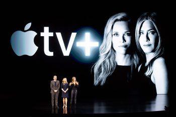 """Steve Carell, Reese Witherspoon und Jennifer Aniston bei der Präsentation von Apple TV+ im März. Sie werden die Gesichter von """"The Morning Show"""" sein.Foto: AFP"""