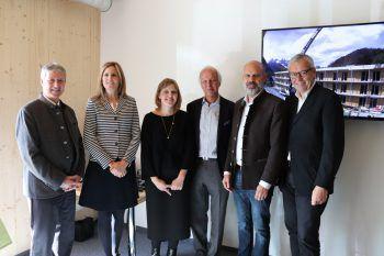 Roman Eberhardt, Patrizia Rüf, Johanna Platt, Karl Weisskopf, Jürgen Kuster und Karlheinz Rüdisser bei der feierlichen Eröffnung.