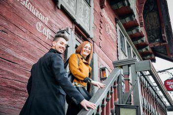 Auf ihrer Shopping-Tour genossen Flavio und Julia ein leckeres Menü im Roten Haus.