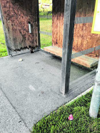 """<p class=""""caption"""">Lediglich einen Aschenbecher gibt es an der Haltestelle in Sankt Gallenkirch, der Müll sammelt sich auf dem Boden.</p>"""