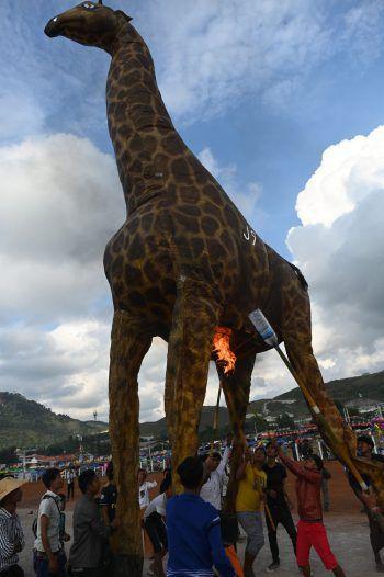 """<p>Myanmar. Tierisch: Zum alljährlichen """"Taunggyi fire balloon festival"""" ließen diese jungen Männer einen Heißluftballon in Form einer Giraffe steigen.</p>"""
