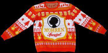 """<p class=""""caption"""">Tolles Geschenk für Mohrenfans: Weihnachts-Pullover um 65 Euro im Mohren-Lädele erhältlich.</p>"""