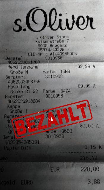 """<p class=""""caption"""">216,12 Euro: Gerd Thurnher hat sich mit Winterkleidung eingedeckt.</p>"""