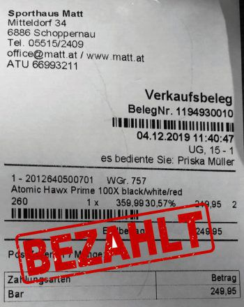 "<p class=""caption"">249,95 Euro: Christoph Moosmann hat Skischuhe gekauft.</p>"