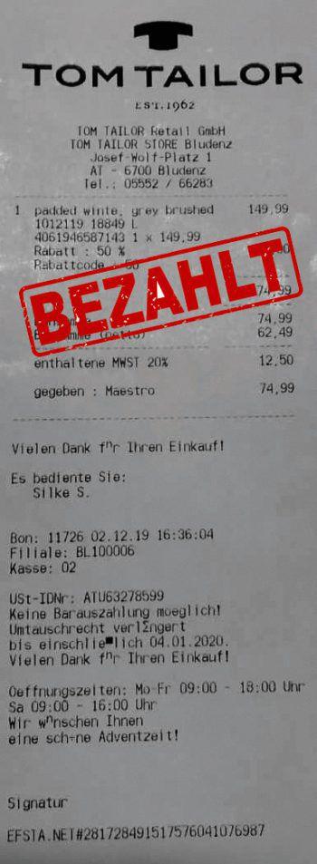 """<p class=""""caption"""">74,99 Euro: Sibylle Bodenlenz war bei Tom Tailor shoppen.</p>"""