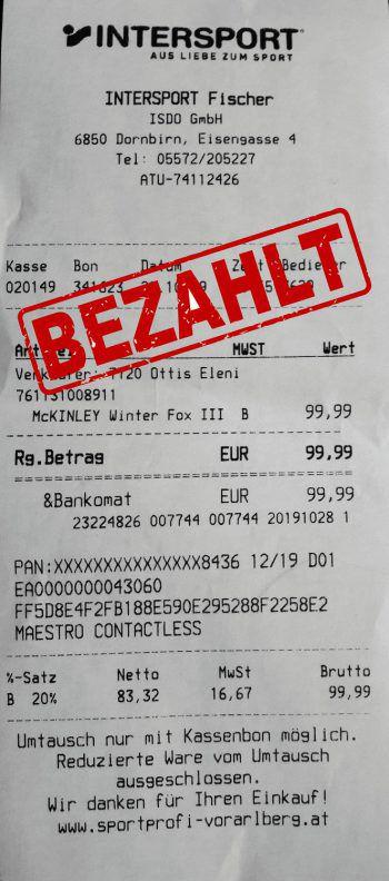 "<p class=""caption"">99,99 Euro: Nicole Dünser war zum Weihnachtsshopping bei Intersport Fischer.</p>"