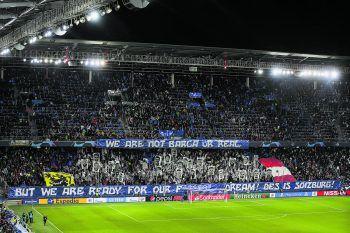 "<p class=""caption"">Die Salzburger Fans lieferten eine tolle Vorstellung: ""We are not Barca or Real, but we are ready for our f******* dream! Des is Soizburg!"" Fotos: GEPA, MJ </p>"