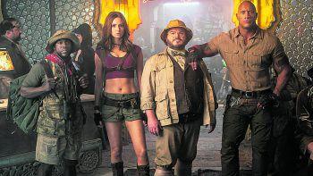 """Dwayne """"The Rock"""" Johnson, Jack Black und Kevin Hart sind zurück. Foto: Sony Pictures"""