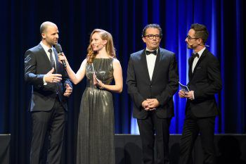 """<p class=""""caption"""">Wirtschaftslandesrat Marco Tittler, Lisa Alge, WKV-Präsidenten Hans Peter Metzler und Moderator Lukas Greussing.</p>"""
